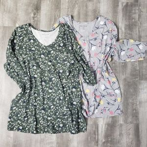 2 Woman Within v-neck 3/4 sleeved tops.  1x(22/24)